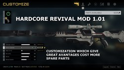 More machine parts are now necessary to customize the weapons (Mod Hardcore Revival 1.01 for Deus Ex Mankind Divided).